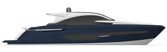 Targa 63 GT Exterior MIDNIGHT BLUE (hull & bulwalks) - Fairline Yachts file