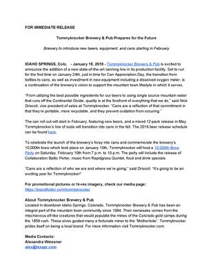 Tommyknocker Canning Press Release.pdf - Tommyknocker file