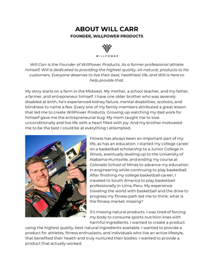 About Will Carr, Founder WillPower Products.pdf - WillPower Products file