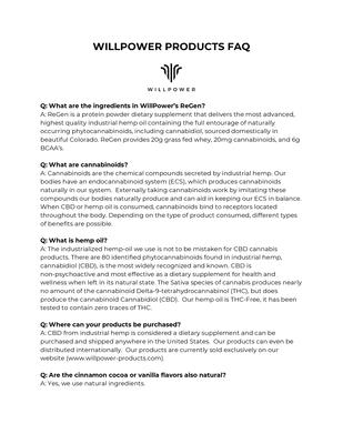 WillPower Products FAQ .pdf - WillPower file