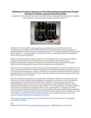 WillPower Products - Press Release.pdf - WillPower file