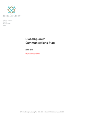 GXº 2018 Communications Plan.pdf - GlobalXplorerº file