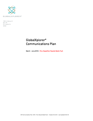 GXº 2018 Communications Plan_Peru.pdf - GlobalXplorerº file