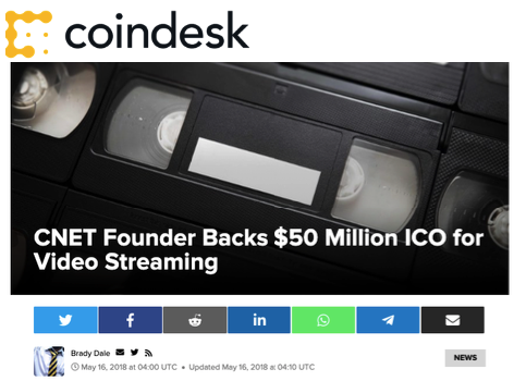 CoinDesk: CNET Founder Backs $50 Million ICO for Video Streaming - VideoCoin Brand Assets press