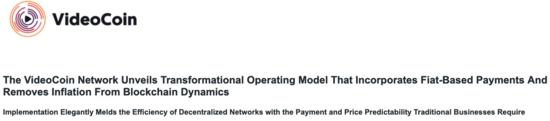 Press Release: The VideoCoin Network Unveils Transformational Operating Model That Incorporates Fiat-Based Payments And Removes Inflation From Blockchain Dynamics - VideoCoin Brand Assets press