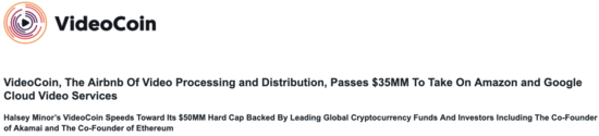 Press Release: VideoCoin, The Airbnb Of Video Processing and Distribution, Passes $35MM To Take On Amazon and Google Cloud Video Services - VideoCoin Brand Assets press