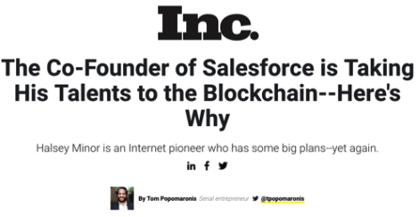 Inc.: The Co-Founder of Salesforce is Taking His Talents to the Blockchain--Here's Why - VideoCoin Brand Assets press