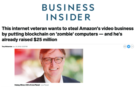 Business Insider: This internet veteran wants to steal Amazon's video business by putting blockchain on 'zombie' computers — and he's already raised $25 million - VideoCoin Brand Assets press