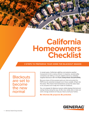 California Homeowner's Checklist - Generac Clean Energy file