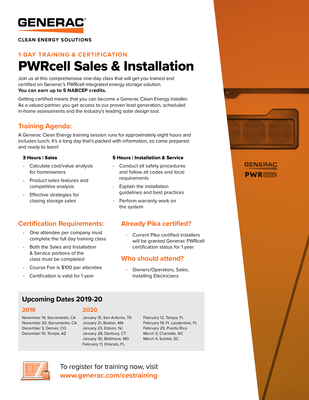 PWRcell Training Sales Sheet - Generac Clean Energy file