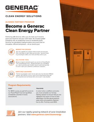 Clean Energy Partner Sales Sheet - Generac Clean Energy file