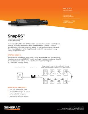 SnapRS Spec Sheet - Generac Clean Energy file