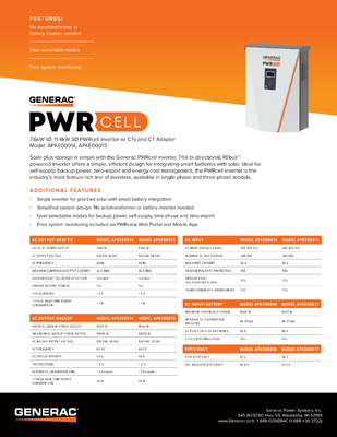 PWRcell Inverter Spec Sheet - Generac Clean Energy file