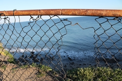 Fence Broken Ocean Plants Hiking Adventure Fun Original