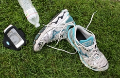 Tennis Shoes And Water Bottle
